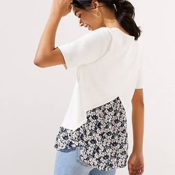 Petite Floral Mixed Media Crossover Back Sweater | LOFT