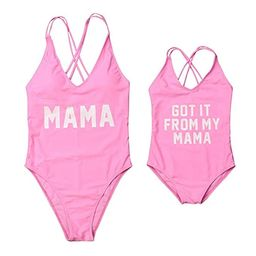 Mommy and Me Swimsuit Family Matching Baby Girls Women Letter Print One Piece Swimwear Bathing Suit | Amazon (US)