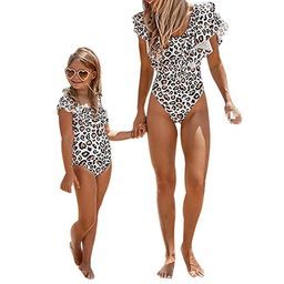 Mommy and Me Swimsuits Leopard Ruffles Swimwear Mother Daughter Monikini Bathing Suit | Amazon (US)