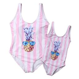 Mommy and Me Matching Pineapple Print Striped One-Piece Swimsuits Sleeveless Backless Monokini Fa... | Amazon (US)