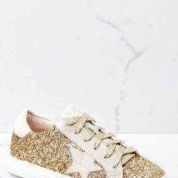 Getting Better Gold Glitter Sneakers | Red Dress