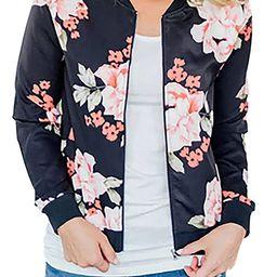 ChainJoy Women Floral Zipper Jacket Classic Long Sleeve Short Bomber Jacket Coat | Amazon (US)