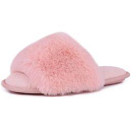 LongBay Women's Faux Bunny Fur Memory Foam House Slippers Cute Comfy Flat Slide Sandals Cozy Hous...   Amazon (US)
