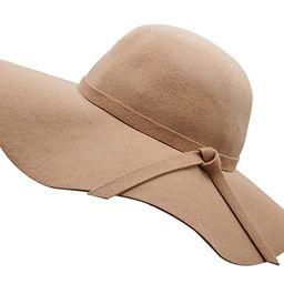 Bienvenu Women's Wide Brim Wool Ribbon Band Floppy Hat | Amazon (US)