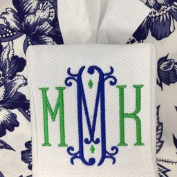 Monogrammed Linen Tissue Box Cover-Vienna Monogram, monogrammed gift-personalized gift-hostess gift   Etsy (US)