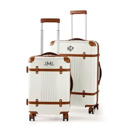 Terminal 1 Checked and Carry-On Spinner Set, White | Mark and Graham