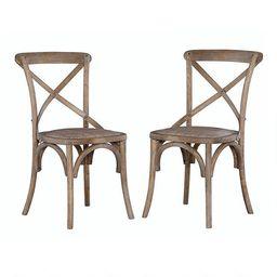 Gray Wood and Rattan Syena Side Chairs Set of 2 | World Market