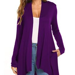 Women's Casual Long sleeve Open Front Lightweight Drape Cardigans With Pockets | Amazon (US)