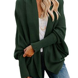 Ybenlow Womens Kimono Open Front Cardigan Sweaters Batwing Sleeve Shawl Collared Oversized Sweate... | Amazon (US)