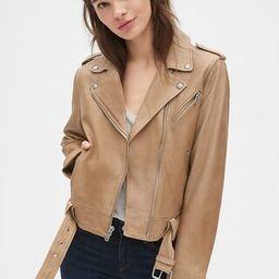 Leather Belted Moto Jacket | Gap US