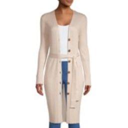 Women's Long Sleeve Button Front Rib Cardigan with Belt   Walmart (US)