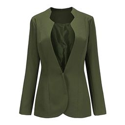 Choies Women's Fashion Casual Long Sleeve Slim Office Blazer with Stand Collar | Amazon (US)