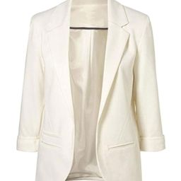 FACE N FACE Women's Cotton Rolled up Sleeve No-Buckle Blazer Jacket Suits | Amazon (US)