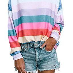 Women Long Sleeve Tops - Oversized Rainbow Striped Tunics Blouses T Shirt Pullover Sweatshirt   Amazon (US)