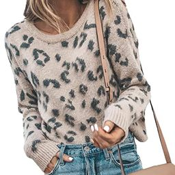 HZSONNE Women's Casual Leopard Crew Neck Loose Fit Sweater Long Sleeve Slouchy Pullover Knitted J... | Amazon (US)