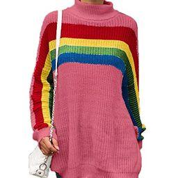 PRETTYGARDEN Women's Loose Knitted Turtleneck Long Sleeve Colorful Striped Rainbow Sweater Oversi...   Amazon (US)