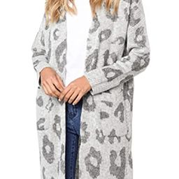 Angashion Women's Long Sleeves Leopard Print Knitting Cardigan Open Front Warm Sweater Outwear Co... | Amazon (US)