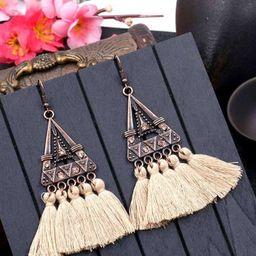 Triangle Shaped Tassel Drop Earrings 1pair | SHEIN