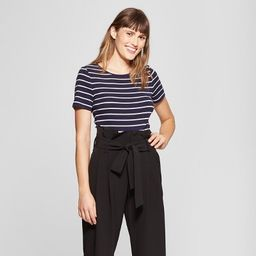Women's Slim Fit Striped Short Sleeve Fitted Crew T-Shirt - A New Day™   Target