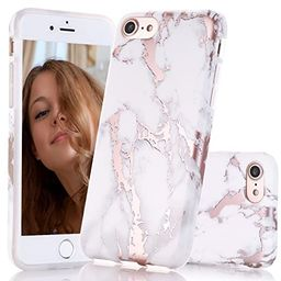 BAISRKE Shiny Rose Gold Marble Design Clear Bumper Matte TPU Soft Rubber Silicone Cover Phone Cas... | Amazon (US)