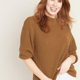 Textured Mock-Neck Blouson-Sleeve Sweater for Women | Old Navy US