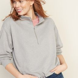 French Terry 1/4-Zip Drawstring-Hem Pullover for Women | Old Navy US