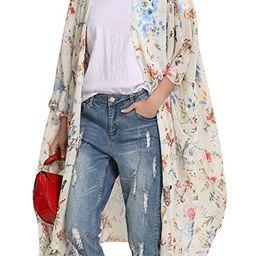 Hibluco Women's Floral Kimono Cardigan Sheer Tops Loose Blouse Cover Ups   Amazon (US)