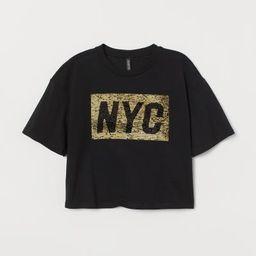 Short T-shirt - Black/reversible sequins -  | H&M US | H&M (US)