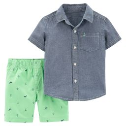 Baby Boy Carter's Chambray Button Down Shirt & Patterned Shorts Set   Kohl's
