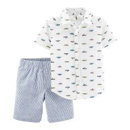 Baby Boy Carter's Boats Button Down Shirt & Striped Shorts Set   Kohl's