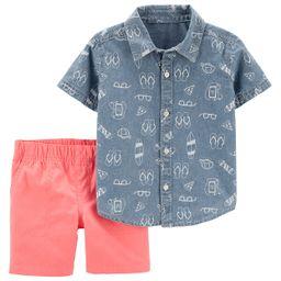 Baby Boy Carter's Beach Chambray Button Front Shirt & Canvas Shorts Set   Kohl's