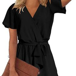 Womens Summer V Neck Ruffles Short Sleeve Belted Wrap Short Jumpsuit Rompers   Amazon (US)
