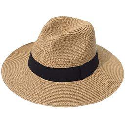 Lanzom Women Wide Brim Straw Panama Roll up Hat Fedora Beach Sun Hat UPF50+ | Amazon (US)