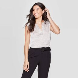 Women's Leopard Print Regular Fit Sleeveless V-Neck Woven Tunic - A New Day™ Tan | Target