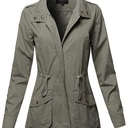 Awesome21 Women's Casual High Neck Military Roll-Up Sleeves Jacket | Amazon (US)
