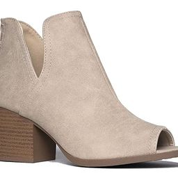 J. Adams Tabs Western Boots - Cut Out Peep Toe Stacked Low Heel Ankle Bootie | Amazon (US)