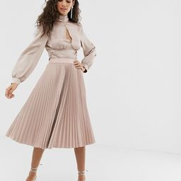 Outrageous Fortune midi pleated skater skirt in mink   ASOS US