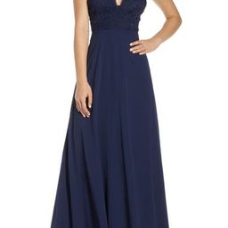 Madalyn V-Neck Lace & Chiffon Evening Dress   Nordstrom