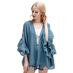RIIQIICHY Women's 3/4 Ruffle Sleeve Kimono Cardigan Cover Up for Beach & Casual Wear | Amazon (US)