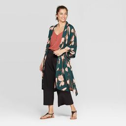Women's Mid Length with High Side Slits Kimono - A New Day™ Green Floral One Size | Target
