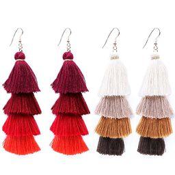 4 Tier Tassel Earrings Thread Fringe Eardrop Tiered Dangle Earrings for Women Handmade Drop Earrings | Amazon (US)