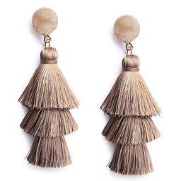 Me&Hz Colorful Layered Tassel Earrings Bohemian Dangle Drop Earrings for Women Girls Tiered Tasse... | Amazon (US)