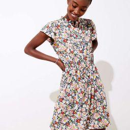 Floral Ruffle Drawstring Dress | LOFT