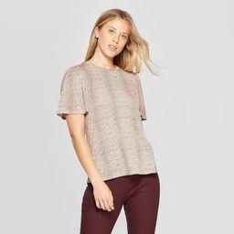 Women's Snake Print Short Sleeve Scoop Neck T-Shirt - A New Day™ Brown | Target