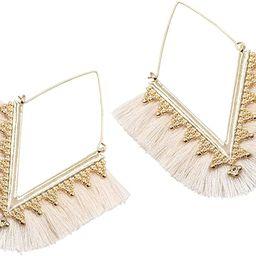 Hoop Tassel Earrings V Shaped Fringe Drop Dangle Earrings for Women | Amazon (US)