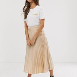 New Look pleated midi skirt in oyster   ASOS US