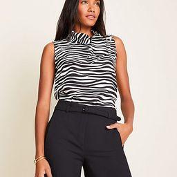 Zebra Print Shoulder Button Tie Neck Shell | Ann Taylor (US)