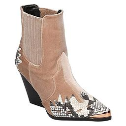 Cape Robbin Women Mixed Media Pointy Toe Flame Pattern Cowboy Bootie HJ88 | Amazon (US)