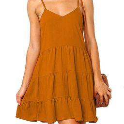 MIHOLL Women's V Neck Ruffle Dress Sleeveless Spaghetti Straps Loose Mini Dresses | Amazon (US)