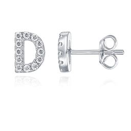 PAVOI 925 Sterling Silver CZ Simulated Diamond Stud Earrings Fashion Alphabet Letter Initial Earr... | Amazon (US)